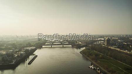 sunny scenic hamburg cityscape and elbe