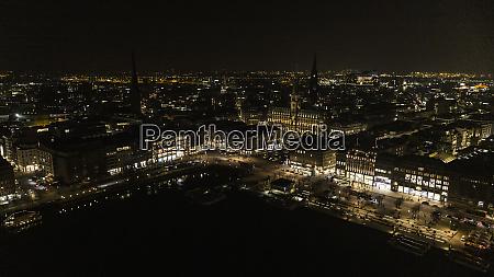 hamburg cityscape illuminated at night germany