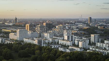 munich cityscape and hirschgarten bavaria germany