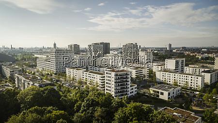 sunny munich cityscape and hirschgarten bavaria