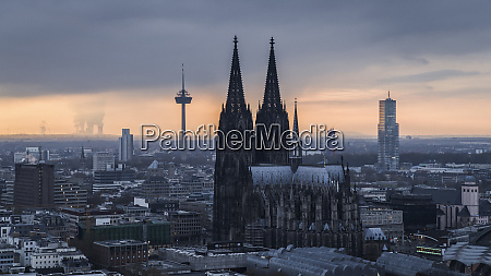 cologne cathedral and colonius tv tower