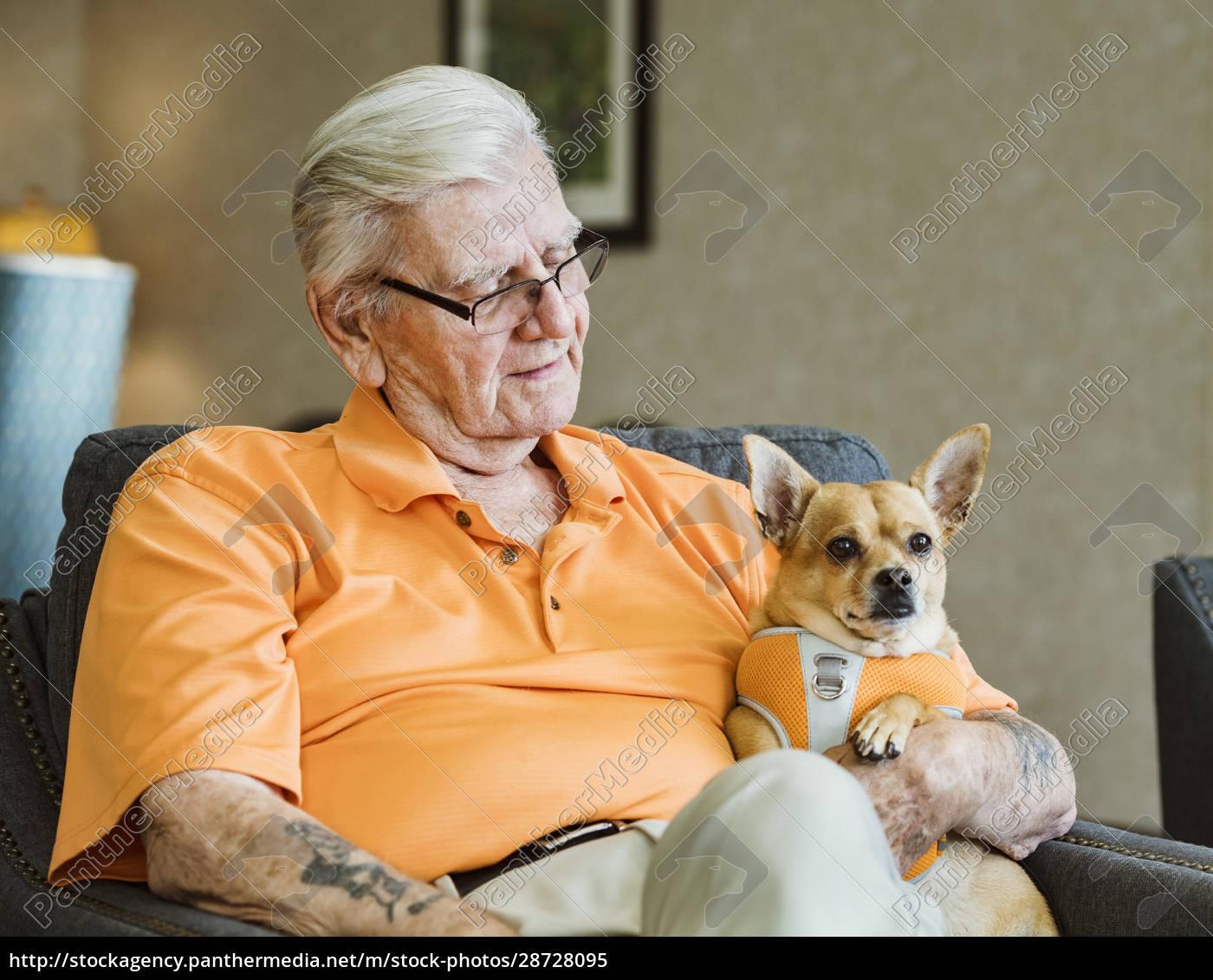 senior, mann, hält, diensthund - 28728095