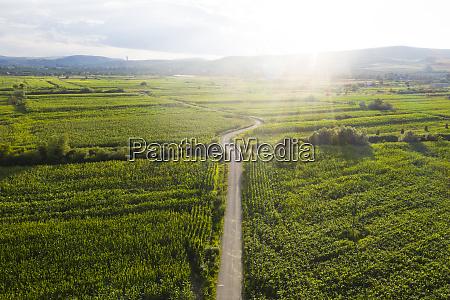 rumaenische landschaft drohne ansicht