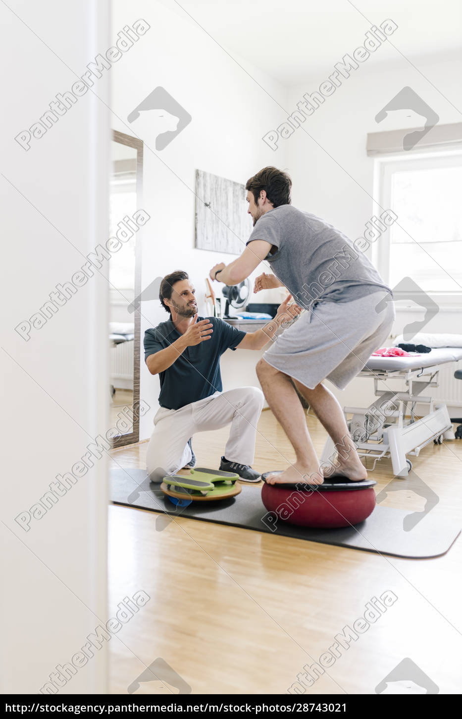 physiotherapist, assisting, patient, , practicing, on, balance - 28743021