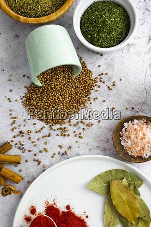 paprika currypulver rosa salz und koriandersamen