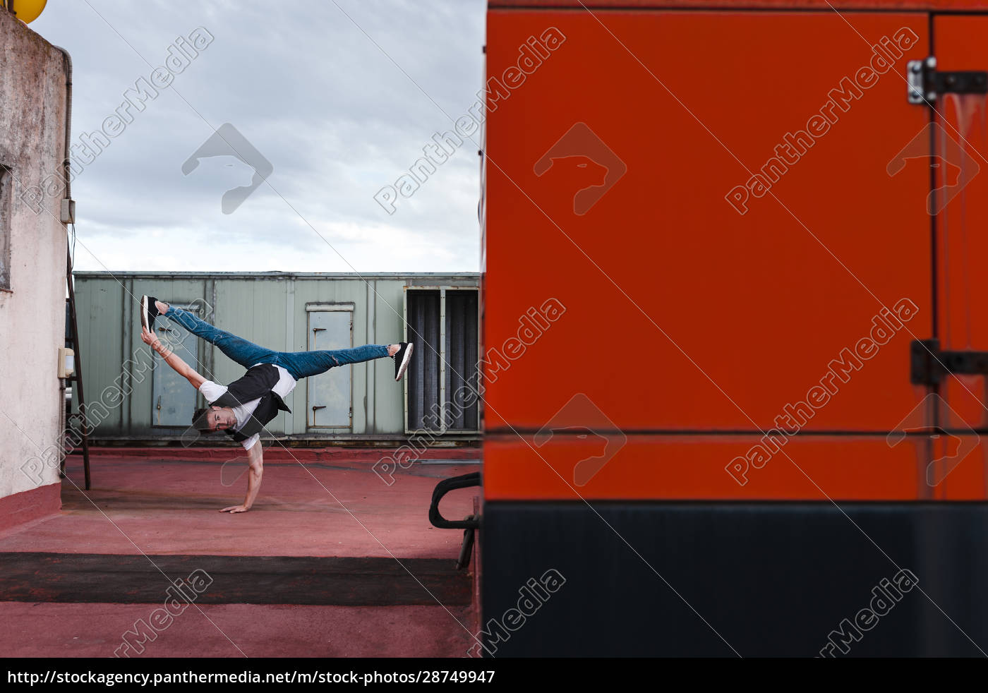 male, dancer, breakdancing, on, abandoned, building - 28749947