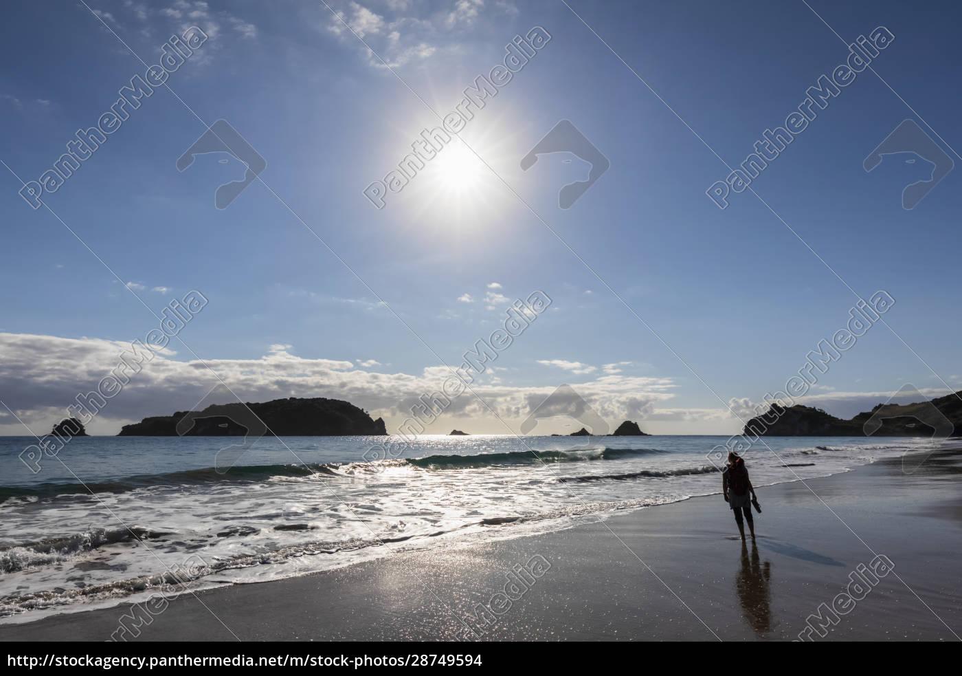 neuseeland, nordinsel, waikato, sonne, scheint, über, silhouette, der, frau - 28749594