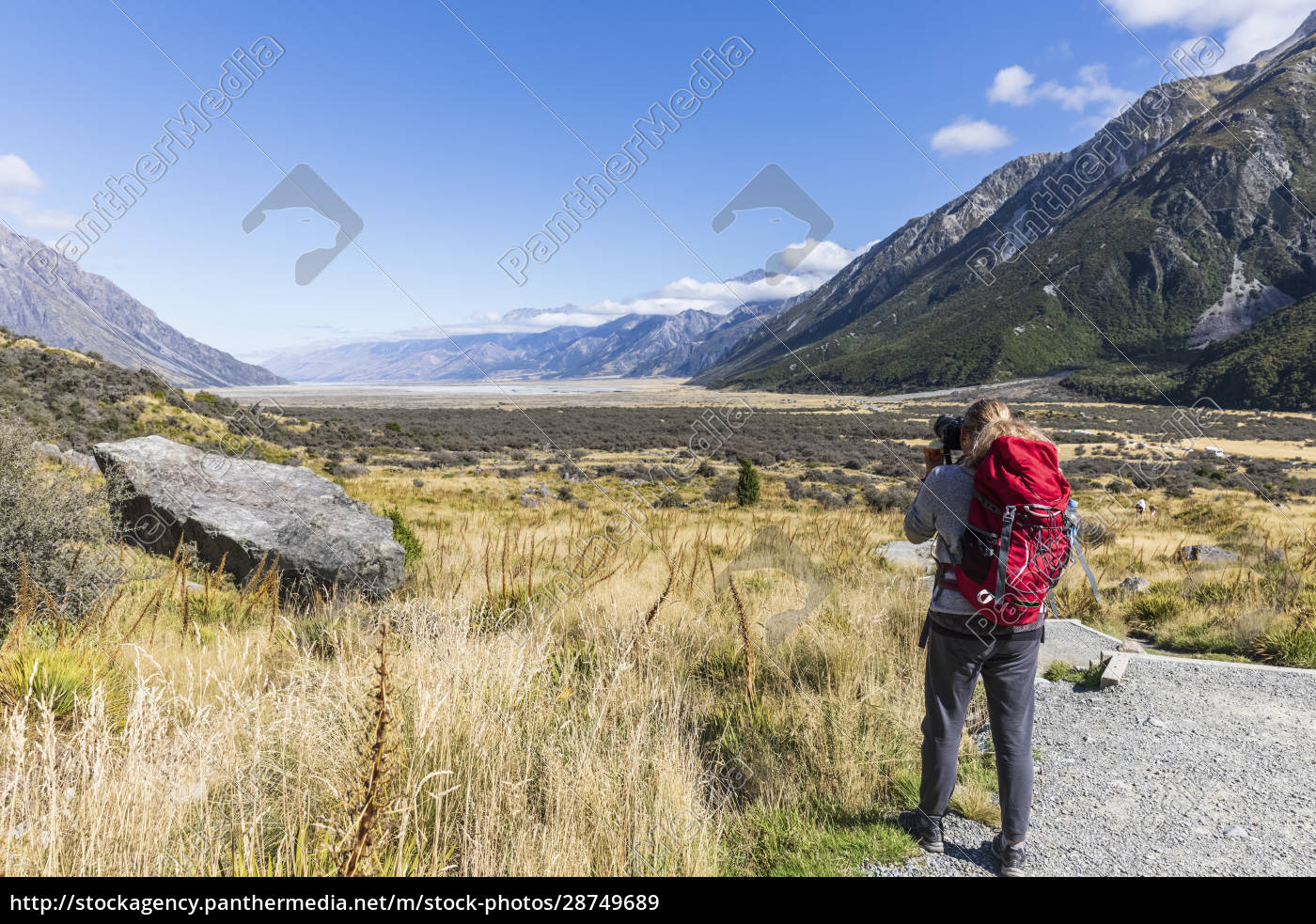 neuseeland, ozeanien, südinsel, canterbury, ben, ohau, südalpen, (neuseelandalpen), mount, cook, nationalpark, rückansicht, des - 28749689