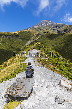 new, zealand, , male, hiker, admiring, surrounding - 28749643
