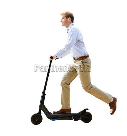 elektro e scooter geschaeftsmann fahren