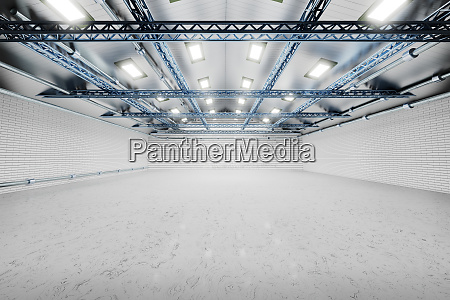 dreidimensionale sendeformung leerer lagerhallen