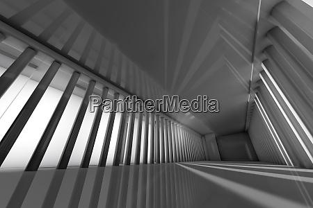 dreidimensionale darstellung des grosszuegigen korridors mit