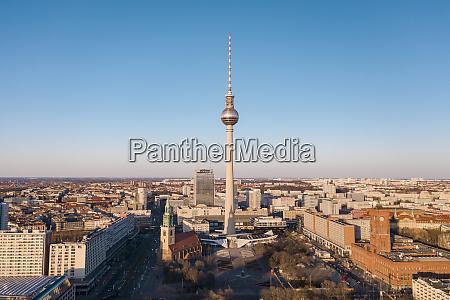 deutschland berlin luftaufnahme des fernsehturms berlin