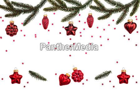 weihnachtsschmuck auf weiss