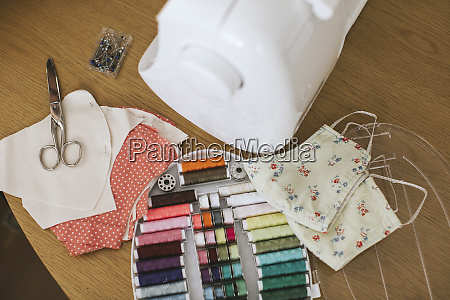 sewing, items, with, floral, protective, masks - 28764518