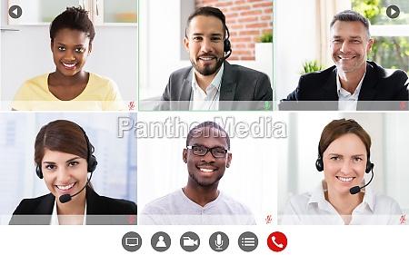 online video konferenzbesprechungsgruppe aufruf