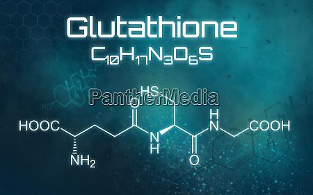 chemische formel von glutathion auf einem
