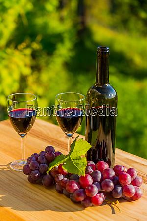 weinflasche und trauben