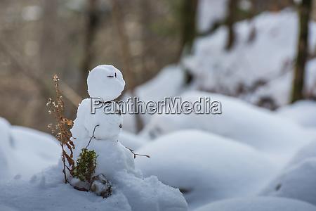 kleiner schneemann im winter