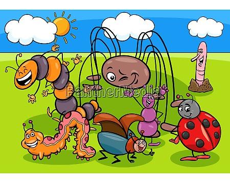 insekten und kaefer cartoon figuren gruppe