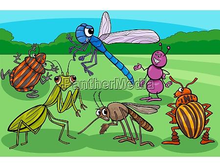 insekten und kaefer lustige zeichentrickfiguren gruppe