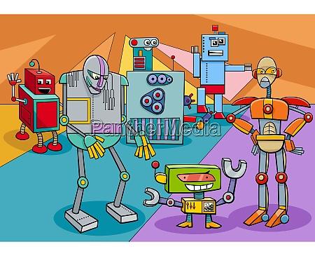 lustige roboter charaktere gruppe cartoon illustration