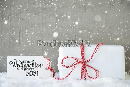 ein weihnachtsgeschenk schnee schneeflocken zement glueckliches