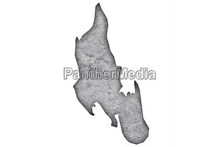 karte von sansibar auf verwitterten beton