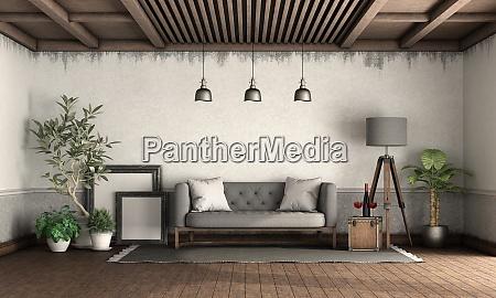 wohnzimmer im retro stil mit elegantem