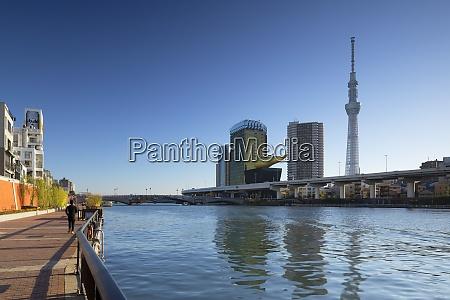 skytree und sumida river tokio honshu