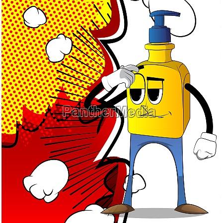 flasche hand desinfektionsmittel gel verwirrt