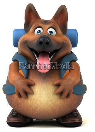 spass backpacker deutschen schaeferhund cartoon charakter