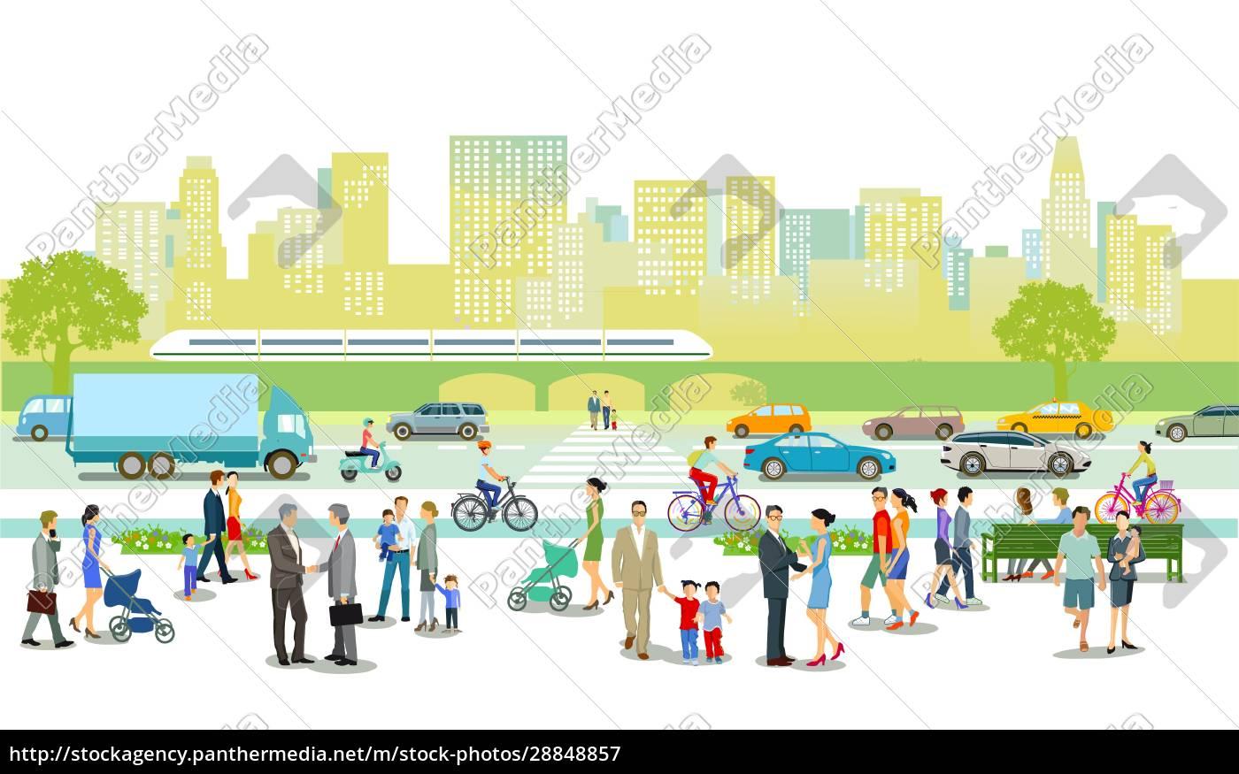 stadt, mit, straßenverkehr, mehrfamilienhäusern, und, fußgängern, auf - 28848857