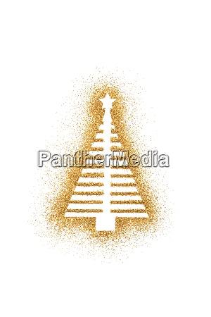 weihnachtsbaumform auf goldenem glitzer isoliert auf