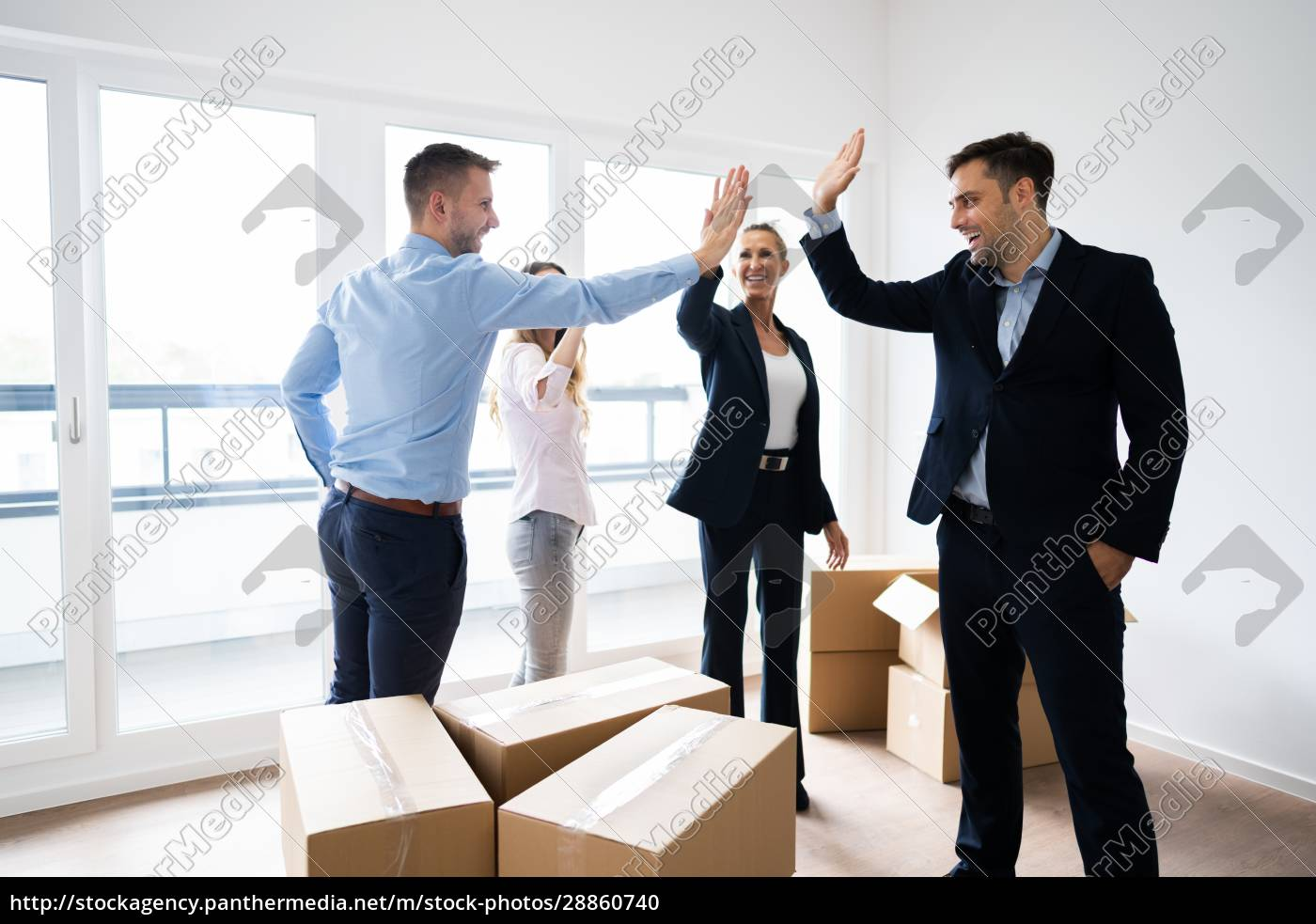 office, relocation., executives, making, high, five - 28860740