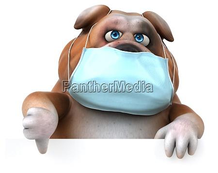 spass 3d illustration einer bulldogge mit