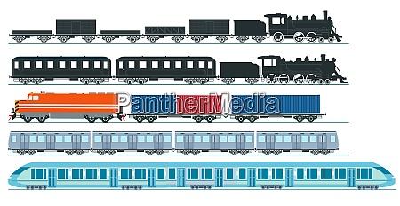 expresszug gueterzug dampflokomotive eisenbahnwagen fracht set