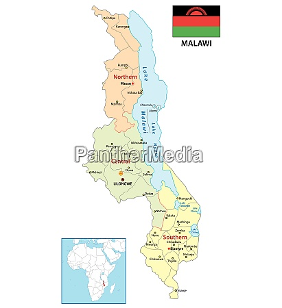 administrative vektorkarte der afrikanischen republik malawi