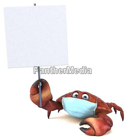 spass 3d cartoon krabbe mit einer