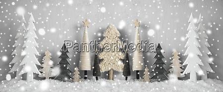 banner weihnachtsbaeume schnee gelber hintergrund frohe