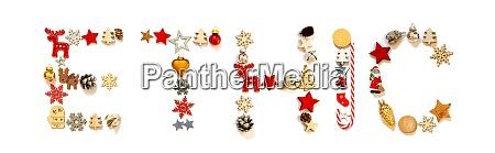 bunte weihnachten dekoration brief gebaeude wort