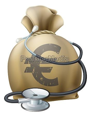 euro money sack und stethoskop