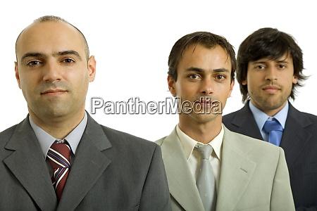 drei geschaeftsleute isoliert auf weissem hintergrund