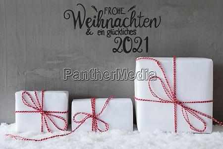 weihnachtsgeschenke schnee zement glueckliches 2021 bedeutet