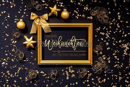 rahmen goldene weihnachtsdekoration ball gutes neues