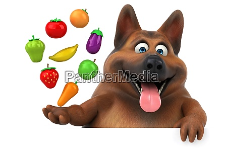 spass deutschen schaeferhund 3d illustration