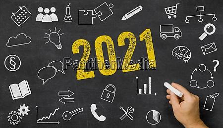 2021 geschrieben auf einer tafel mit