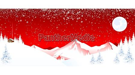 berglandschaft winternacht weihnachten