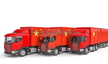 lastenwagen mit chinesischer flagge
