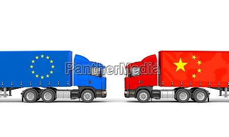 lastwagen mit europaeischen und chinesischen flaggen